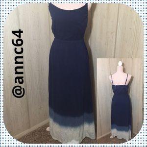 Chelsea & Theodore Blue Ombré Maxi Dress M